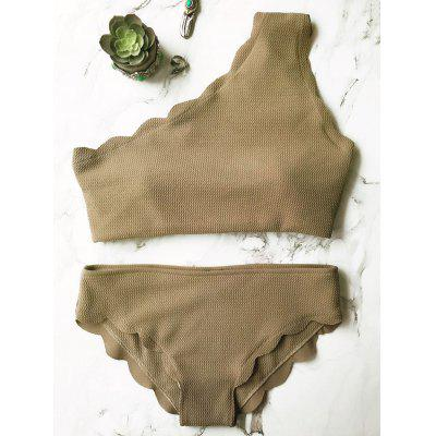 One Shoulder Scalloped Bikini Set