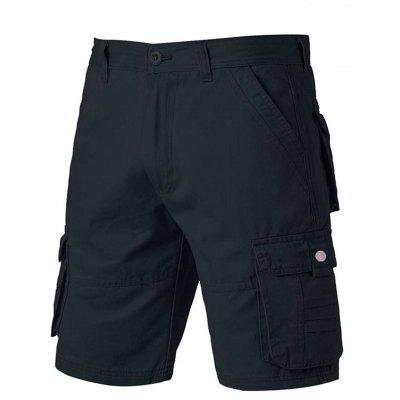 Zipper Fly Applique Pockets Design Cargo Shorts
