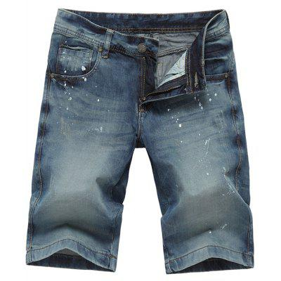 Zip Fly Paint Splatter Jean Shorts