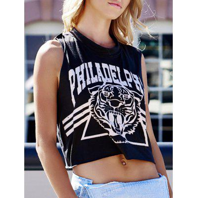 Buy DEEP GRAY Tiger Letter Print Cotton Cropped Tank Top for $3.17 in GearBest store