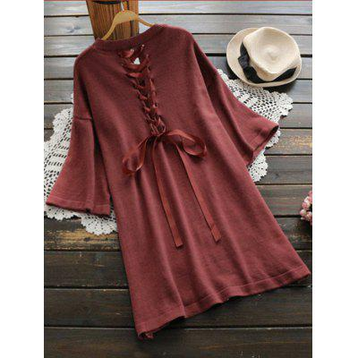 Buy BRICK-RED Side Slit Back Lace Up Sweater Dress for $30.81 in GearBest store