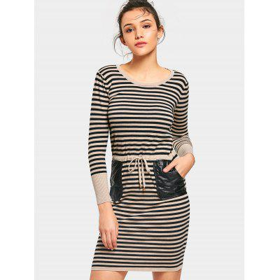 Stripes Faux Leather Pockets Sweater Dress