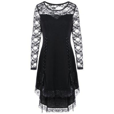 Halloween Lace Yoke Lace Up Cocktail Dress