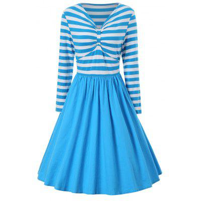 A Line Striped Vintage Dress