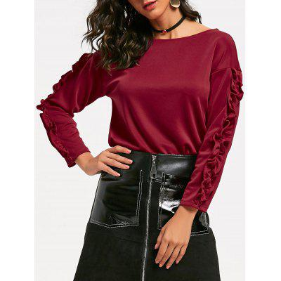 Buy WINE RED XL Ruffle Sleeve Top for $17.41 in GearBest store