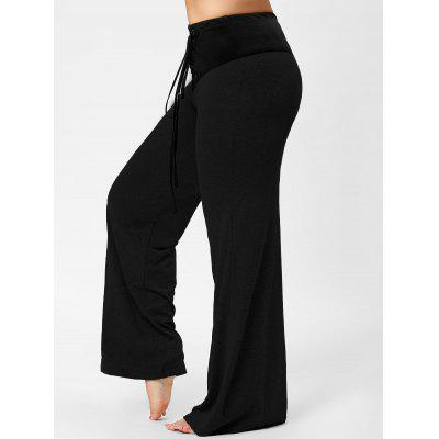 Two Tone Plus Size Lace-up Flare Pants