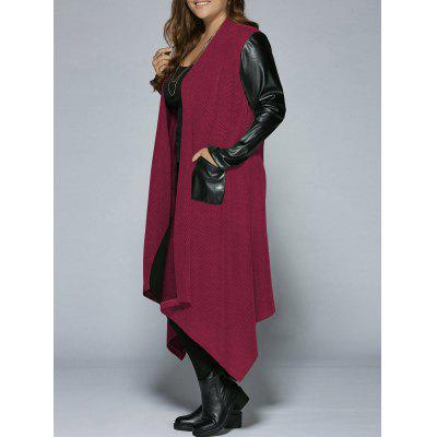 Plus Size PU Leather Trim Longline Asymmetrical Coat