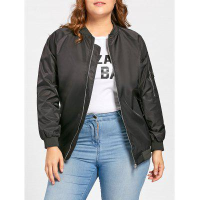 Plus Size Zip Up Bomber Jacket with Pockets