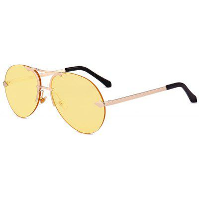 Rimless Alloy Panel Pilot Sunglasses