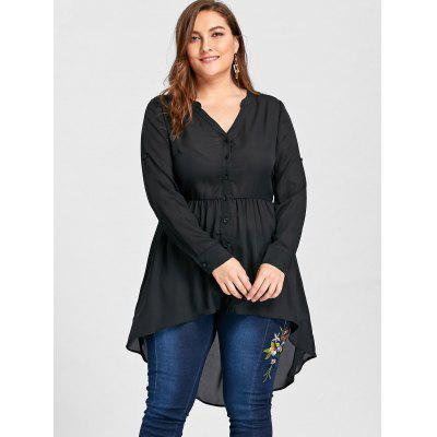 Plus Size High Low Tunic BlousePlus Size Tops<br>Plus Size High Low Tunic Blouse<br><br>Collar: V-Neck<br>Material: Polyester<br>Package Contents: 1 x Blouse<br>Pattern Type: Solid<br>Season: Spring, Fall<br>Shirt Length: Long<br>Sleeve Length: Full<br>Style: Fashion<br>Weight: 0.3000kg