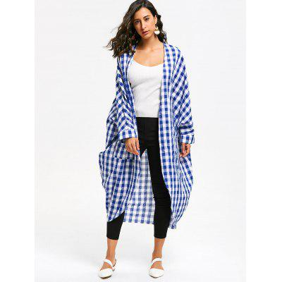 Oversized Batwing Sleeve Plaid Open Front CoatJackets &amp; Coats<br>Oversized Batwing Sleeve Plaid Open Front Coat<br><br>Clothes Type: Others<br>Collar: Collarless<br>Material: Polyester, Cotton<br>Package Contents: 1 x Coat<br>Pattern Type: Plaid<br>Season: Fall, Spring<br>Shirt Length: Long<br>Sleeve Length: Full<br>Style: Fashion<br>Type: Bat Sleeved<br>Weight: 0.3000kg