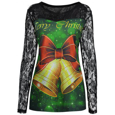 Plus Size Merry Christmas Bell Lace Yoke T-shirt