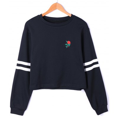 Drop Shoulder Stripes Floral Embroidered Pullover Sweatshirt
