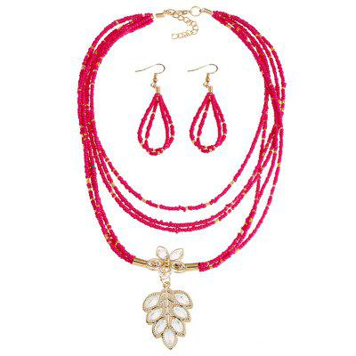 Buy ROSE RED Flower Teardrop Beaded Necklace and Earrings for $4.61 in GearBest store