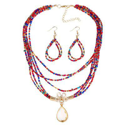 Buy COLORMIX Flower Teardrop Beaded Necklace and Earrings for $4.61 in GearBest store