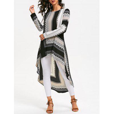 Buy COLORMIX L Tribal Print High Low Long Sleeve Dress for $21.78 in GearBest store