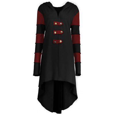 High Low Plus Size Lace-up Hooded Coat