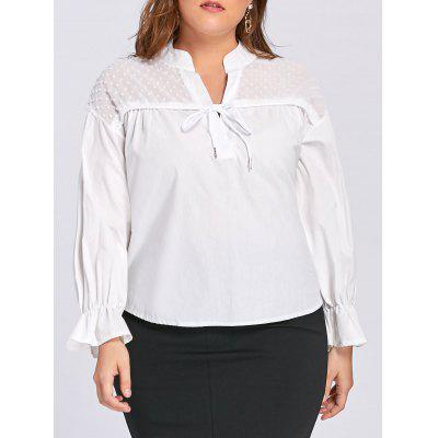 Plus Size Transparent Embellished Drawstring Blouse