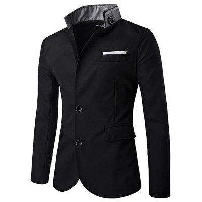 Male Patchwork Blazer Men Slim-fitting Suit Jacket