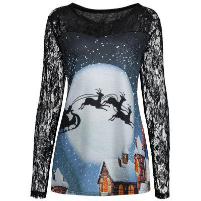 Plus Size Christmas Santa Moon Lace Panel T-shirt