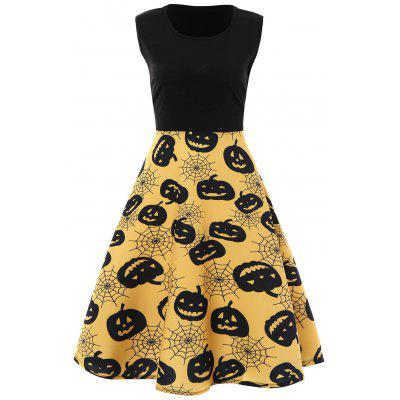 Plus Size Halloween Pumpkin Vintage Sleeveless Dress