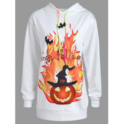 Plus Size Happy Halloween Pumpkin Print Hoodie цена 2017