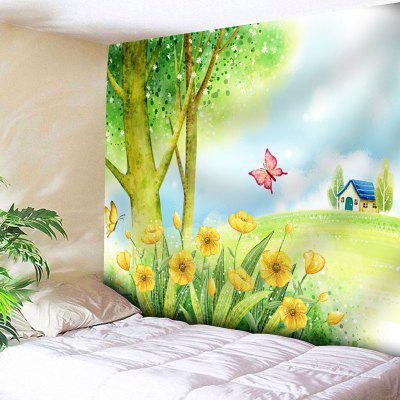 Butterfly Landscape Print Wall Tapestry