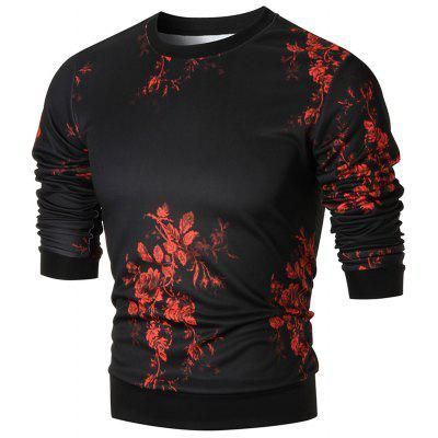 Slim-fit Floral Print Crew Neck Sweatshirt