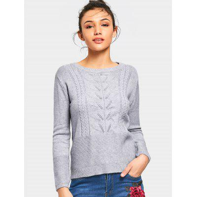 Bowknot Applique Cable Knit Panel Sweater