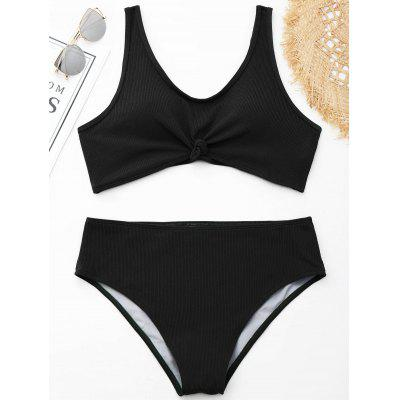 Ribbed Knotted Plus Size Swimwear