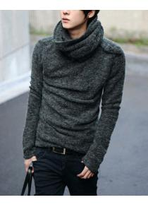 Stylish Cowl Neck Solid Color Long Sleeves Men's Cashmere Blend Sweater