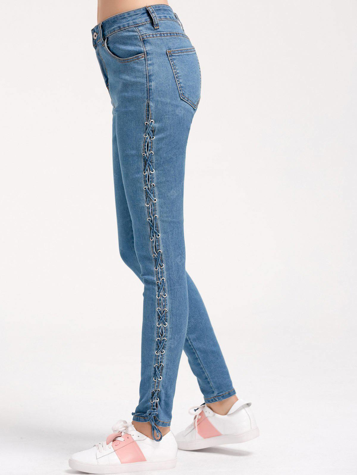 DENIM BLUE S Lace Up Skinny Pencil Jeans
