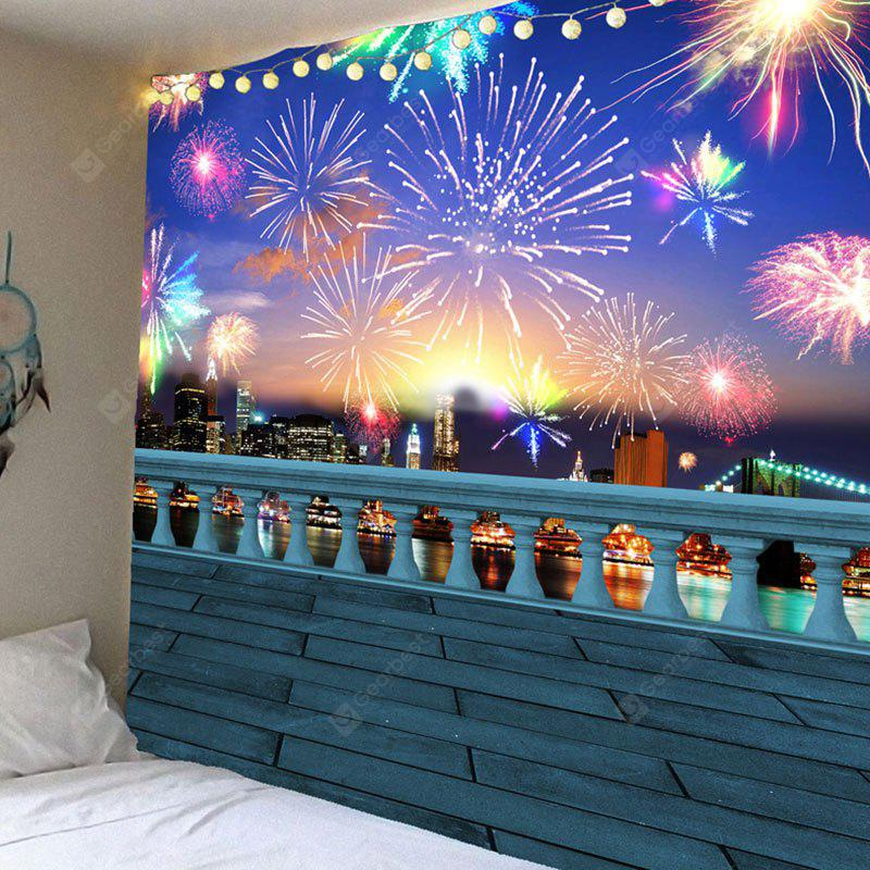 Colorful Fireworks Pattern Waterproof Wall Hanging Tapestry