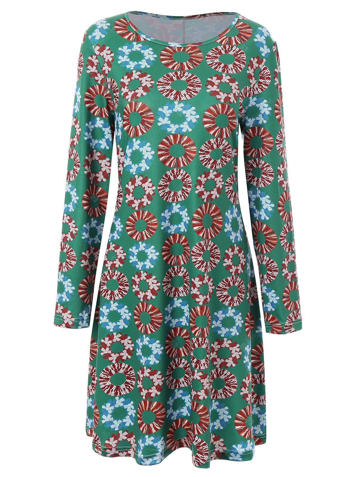 Plus Size Christmas Garland Printed Long Sleeve Dress