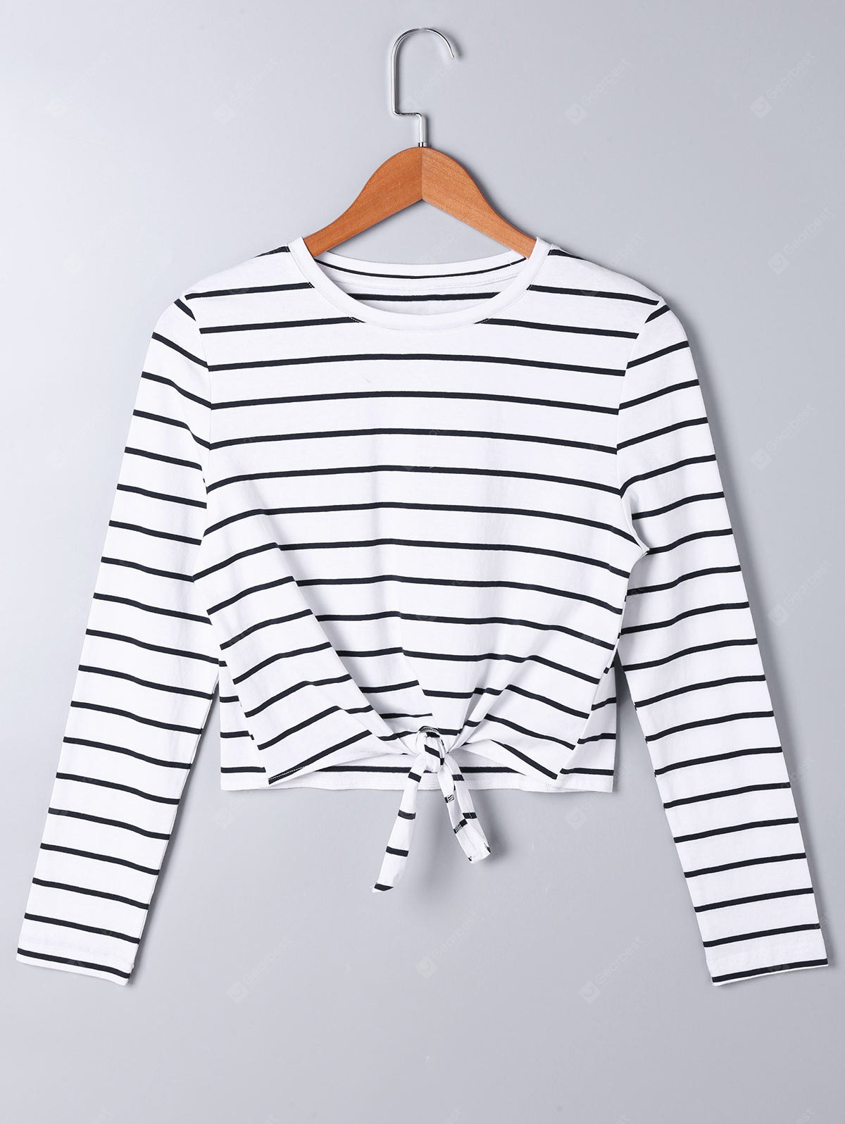 Long Sleeve Front Knot Striped T-shirt
