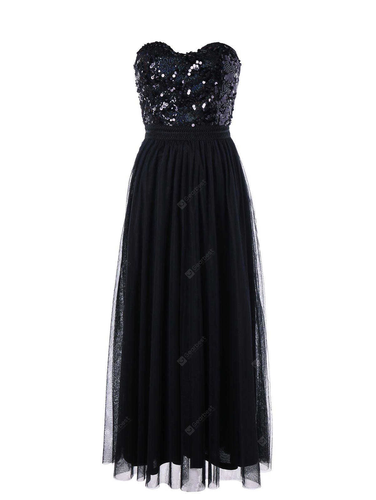 Strapless Sequin Maxi Party Evening Dress