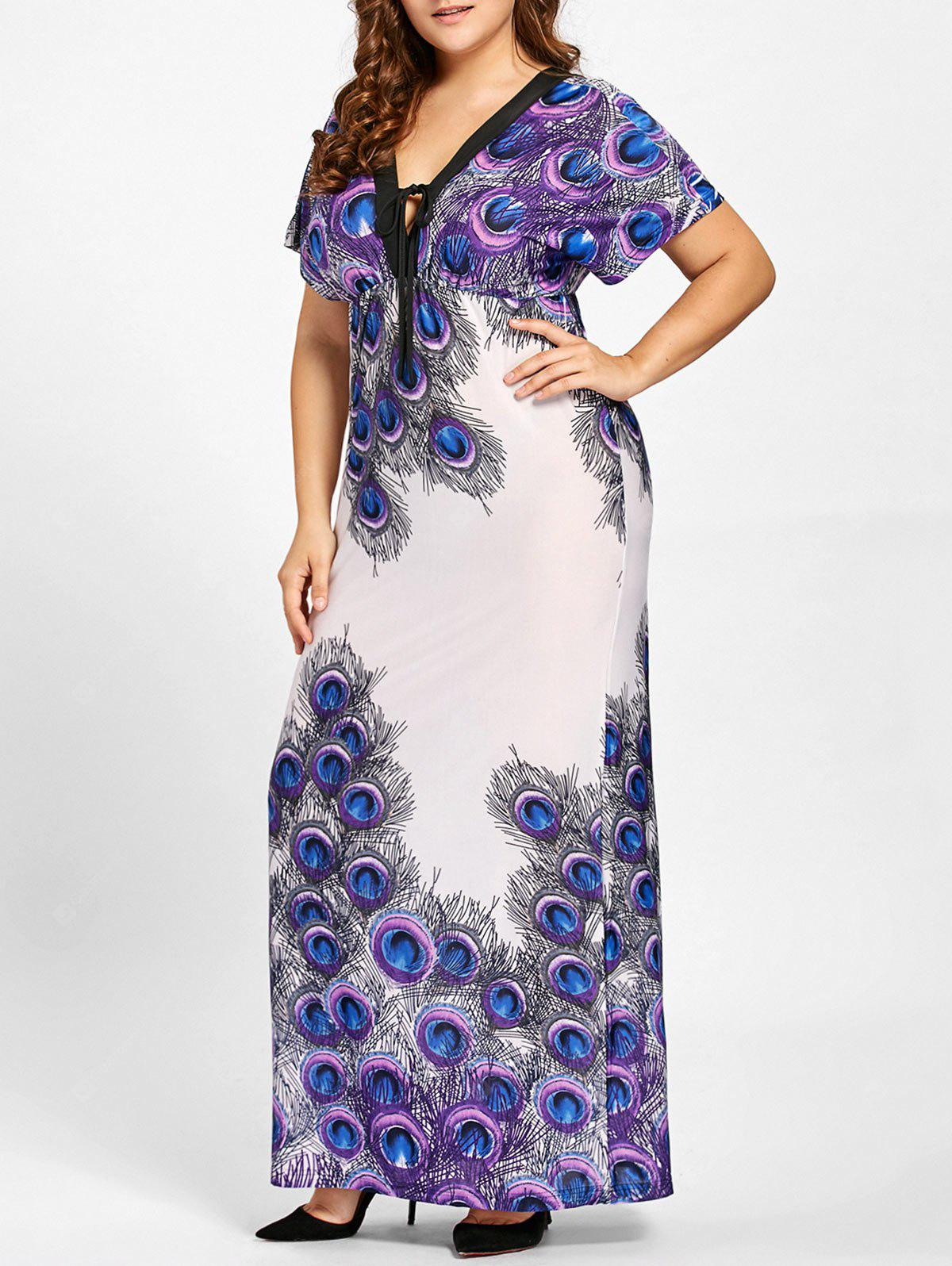 PURPLE 7XL Plus Size Peacock Feather Print Empire Waist Dress
