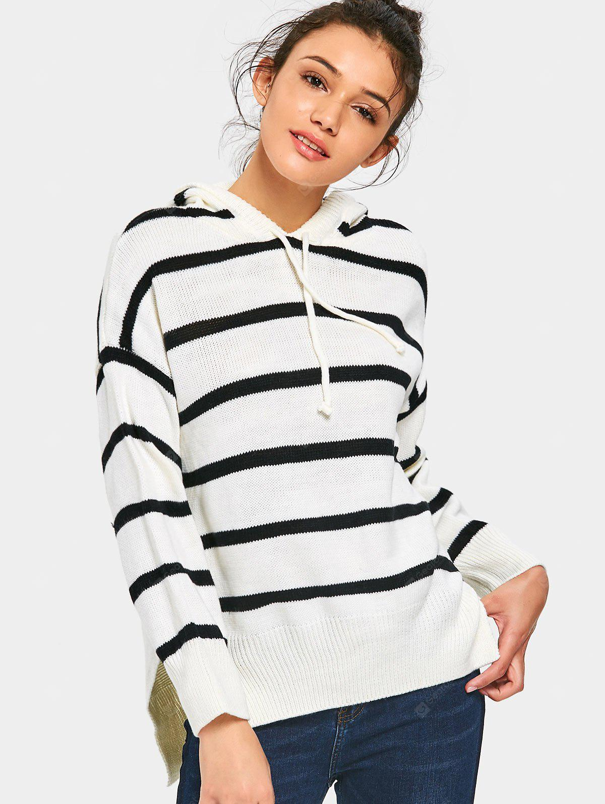 High Low Stripes Hooded Sweater