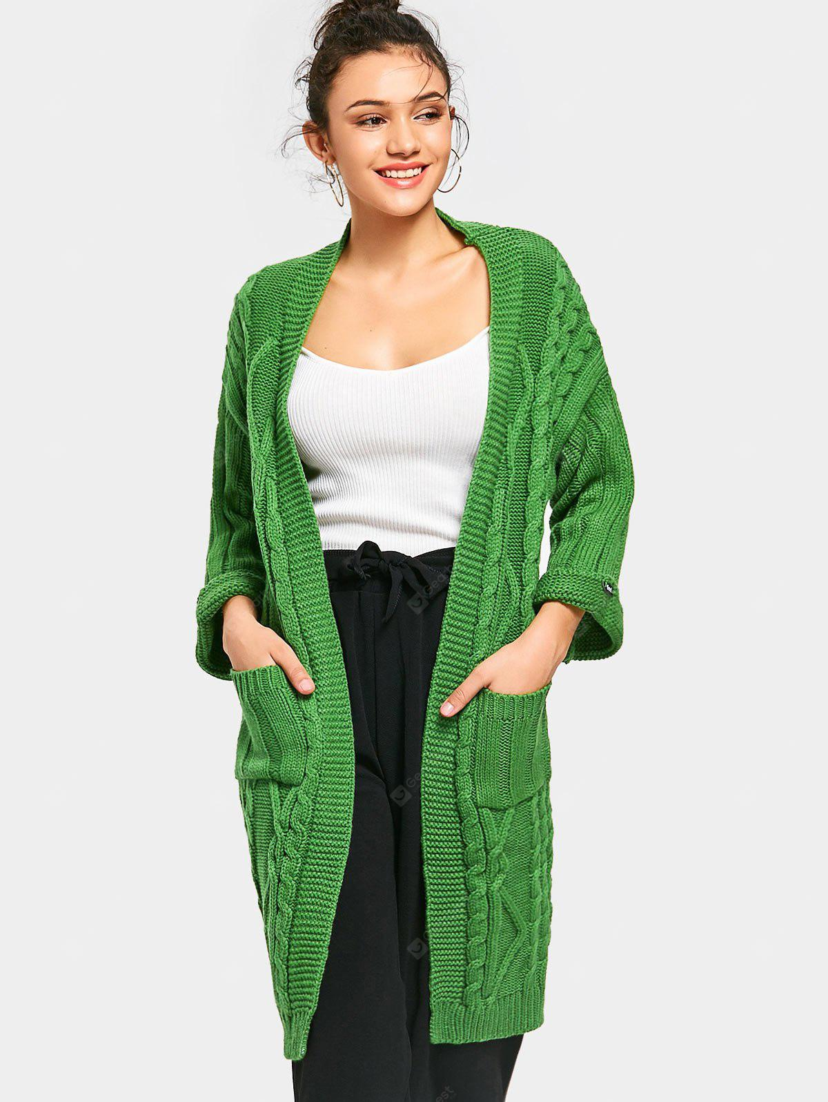 Cable Knit Pockets Open Front Cardigan