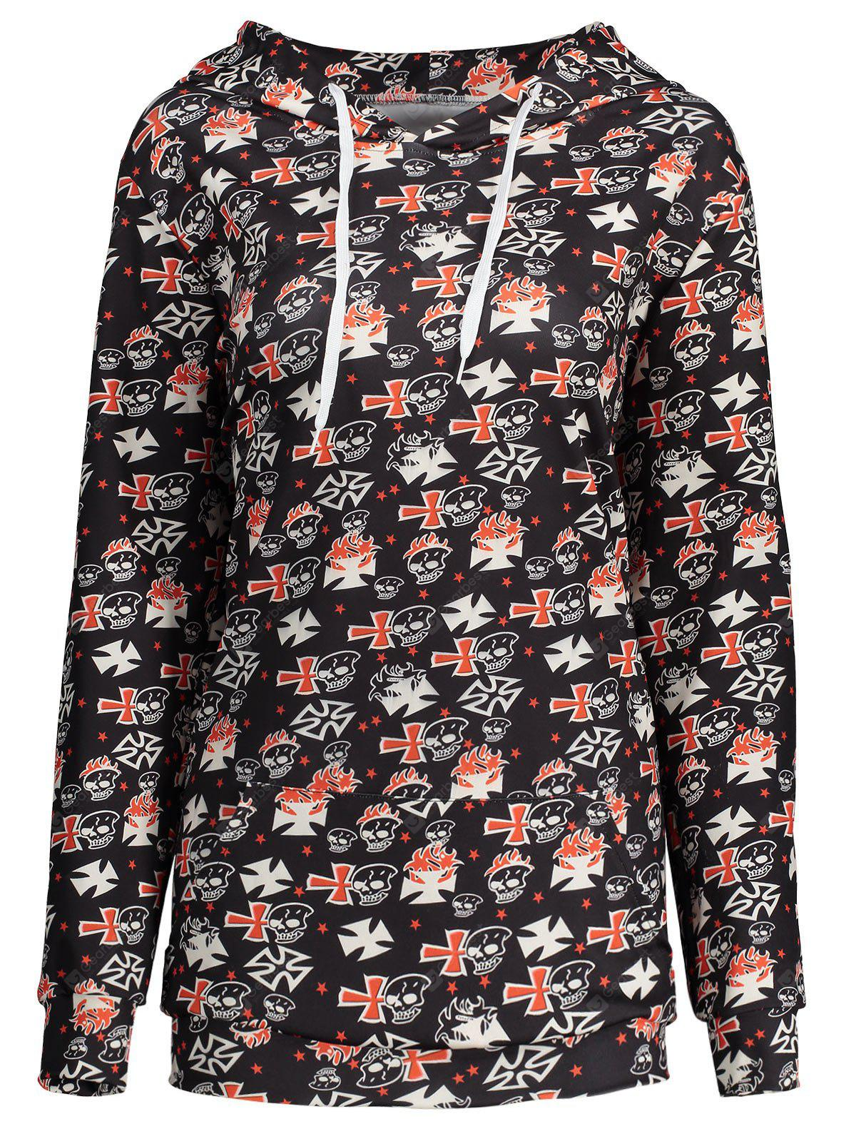 Plus Size Halloween Skull Cross Print Hoodie