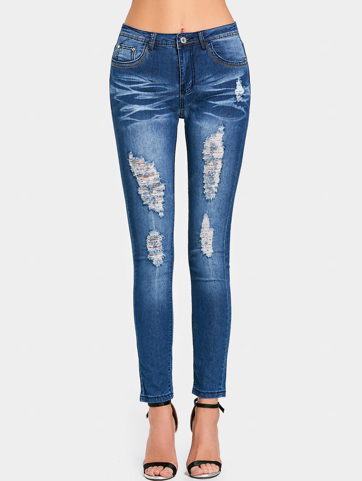 High Rise Pockets Ripped Jeans