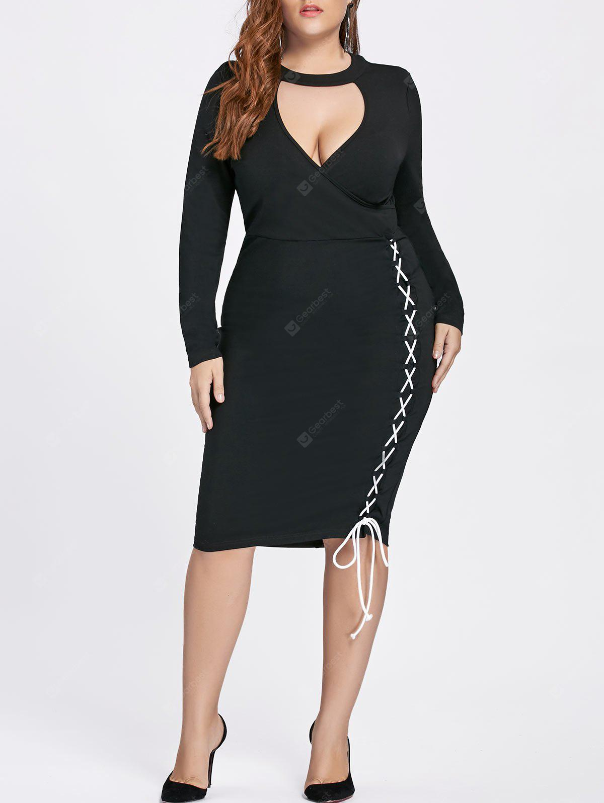 Lace-up Side Plus Size Bodycon Choker Dress