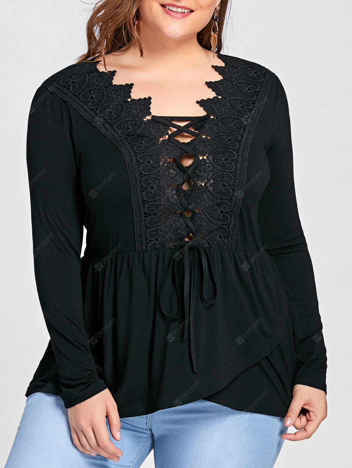 Lace Panel Lace Up Asymmetric Long Sleeve T-shirt