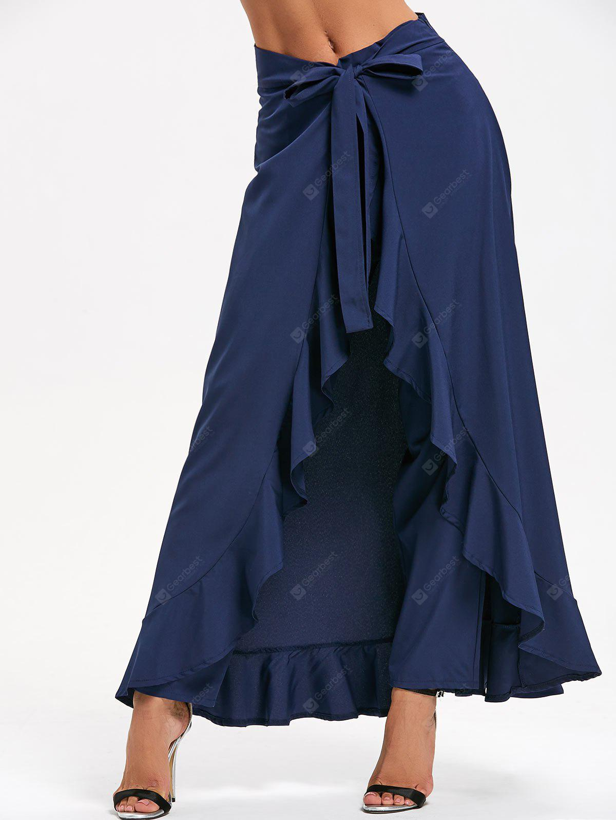 Tie Front Ruffle Skirted Pants