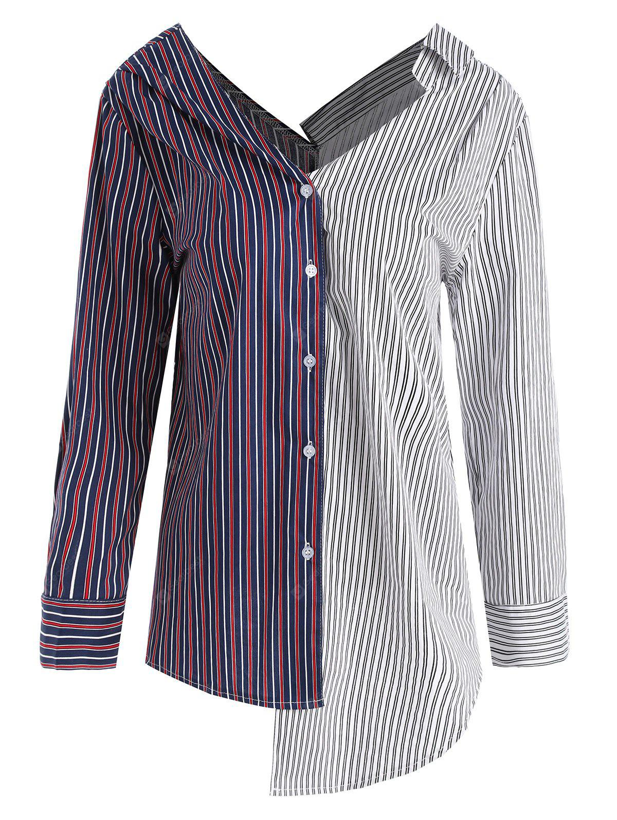Contrast Striped Asymmetrical Plus Size Blouse