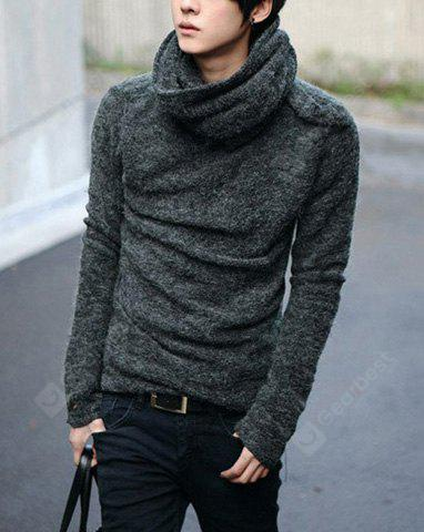 Stylish Cowl Neck Cor sólida manga comprida Men's Cashmere Blend Sweater