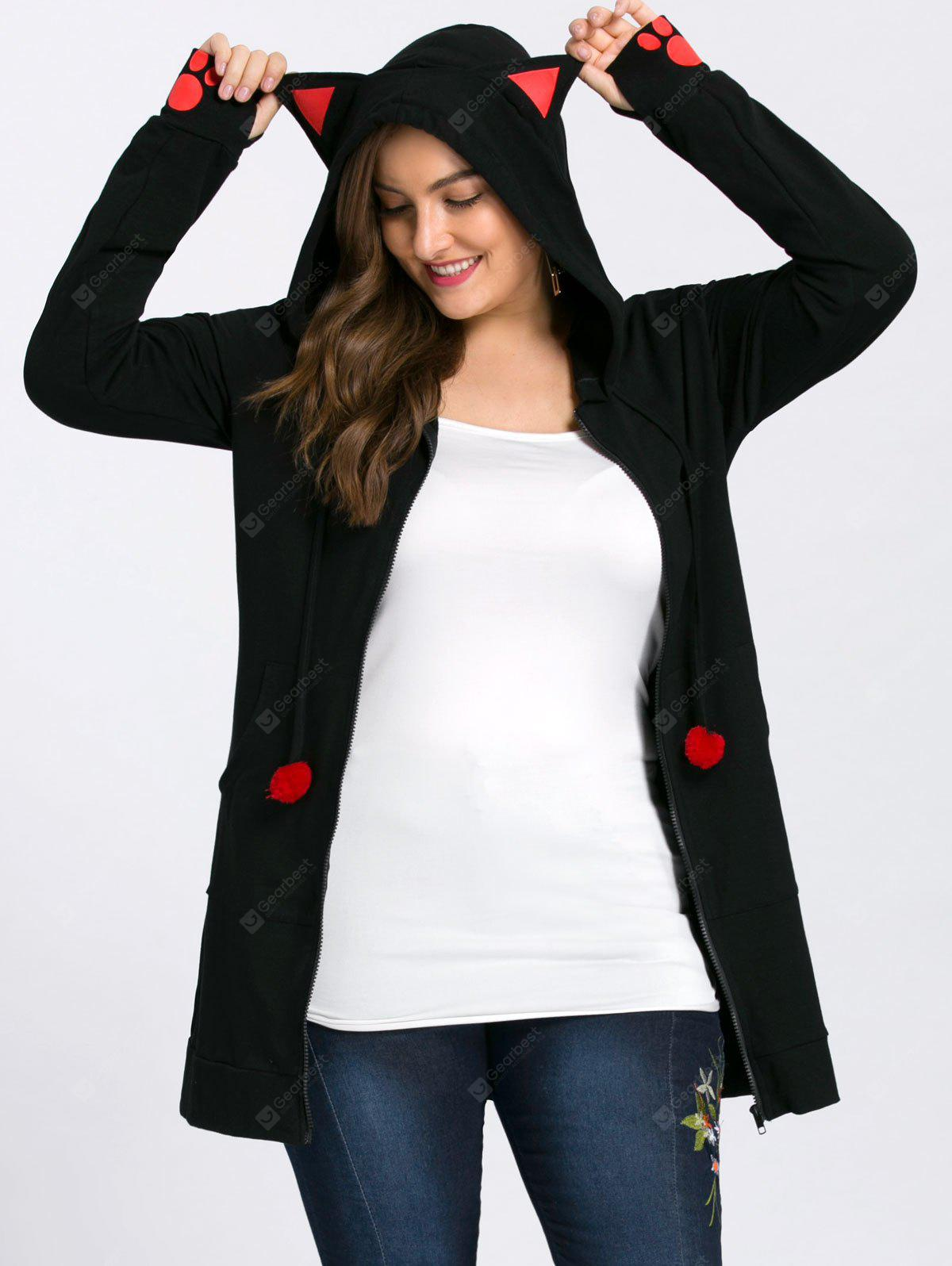 Plus Size Zip Up Hoodie with Ears