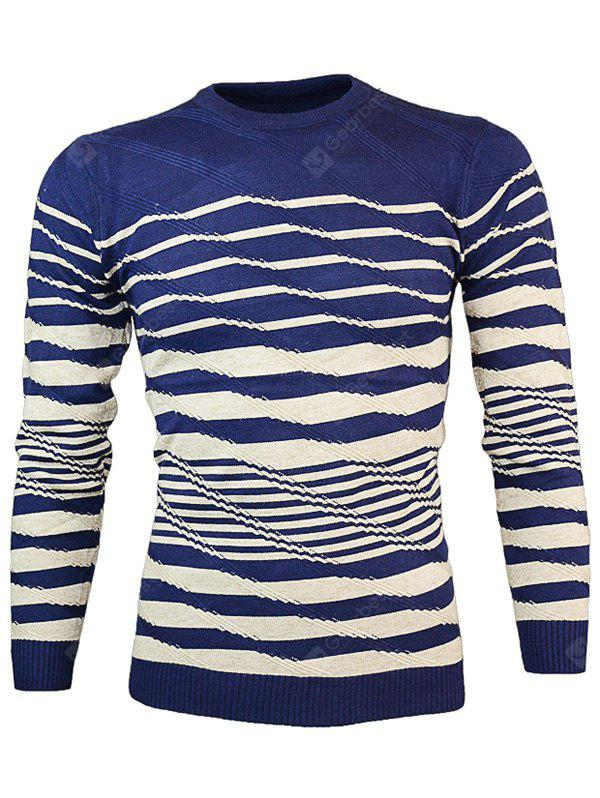 CADETBLUE Crew Neck Wave Stripe Pullover Knitwear