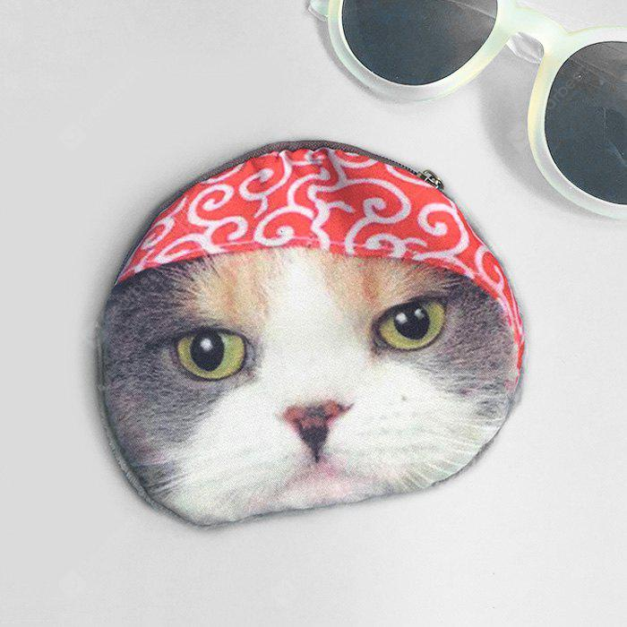 3D Cat Printed Coin Purse