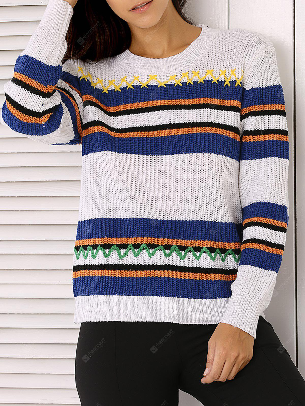 Long Sleeve Stripe Colorful Embroidered Sweater